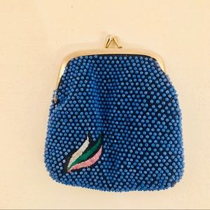 Vintage 60's/70s Blue Beaded Coin Purse